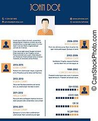 Flat style curriculum vitae resume design