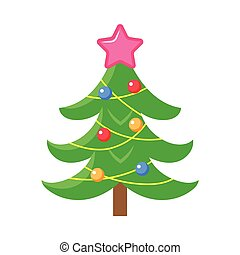 Flat style decorated Christmas tree icon