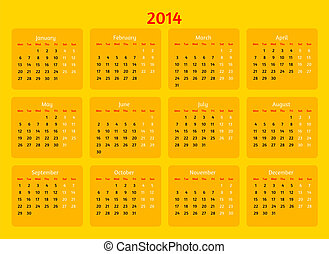 Flat style design. 2014 year vector calendar