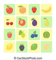 Flat style fruit icon set