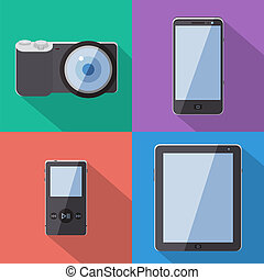 Flat Style Gadgets With Long Shadow Vector Set