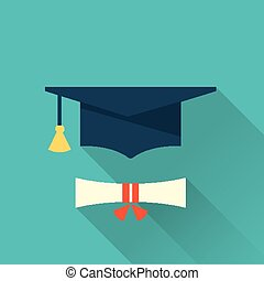 graduation cup icon - flat style graduation cup icon with...
