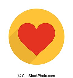 Flat Style Heart Icon. Vector