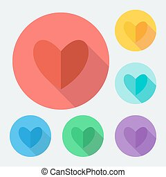Flat style heart icon with long shadow, vector illustration.