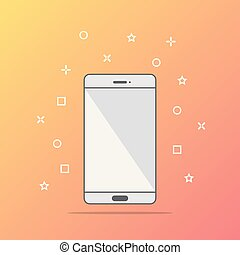 Flat style icon of phone vector illustration