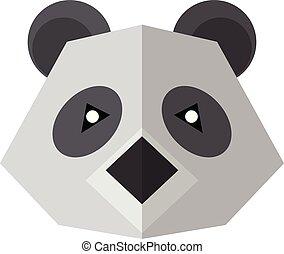 Flat style icon panda isolated on a white background