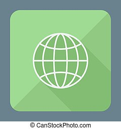 Flat style icon with long shadow. Earth globe vector illustration.