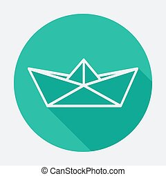 Flat style icon with long shadow, paper boat vector illustration.