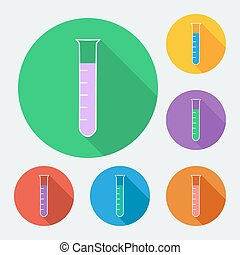 Flat style icon with long shadow, test-tube vector illustration.