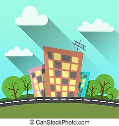 flat style illustration modern city