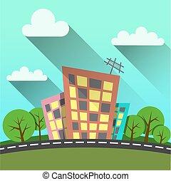 flat style illustration modern city