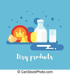 flat style illustration of dairy products.