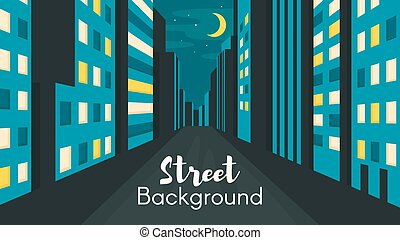 Flat style illustration of night city street.
