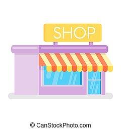 Flat style illustration of shop. Web icon.