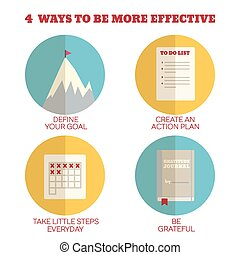 Flat Style Infographics. 4 ways to be more effective. Concept for education, training courses, self-development and how-to articles
