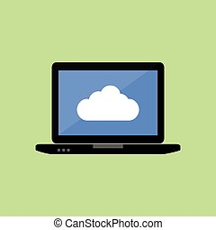 Flat style laptop with cloud