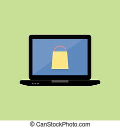 Flat style laptop with shopping bag