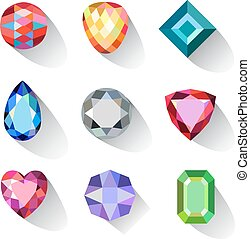 Flat style long shadow colored gems