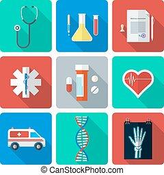 flat style medical icons set