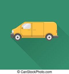 Flat style minivan car icon - Flat style yellow minivan car...