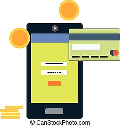 Flat style mobile banking concept