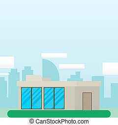 Flat Style Modern Architecture House.Beautiful Urban Landscape. Vector illustration