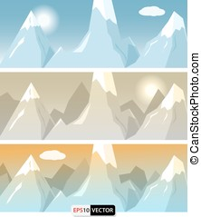 Flat style mountains banners