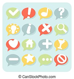 Flat Style Navigation Icons Speech Bubbles