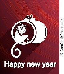 Flat style new year greeting card template