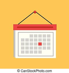 Flat style of calendar vector on yellow background. Vector ullustration.