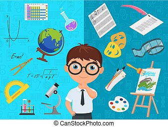 Flat style of diligent schoolboy character in glasses surrounded with various icons of school subjects on blue background. Academic specialization choosing.