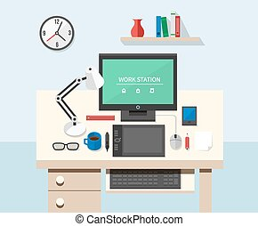 Flat style office workspace