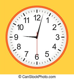 Flat style orange analogue clock