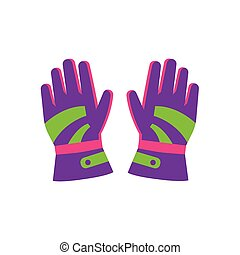 Flat style pair of skiing, snowboarding gloves