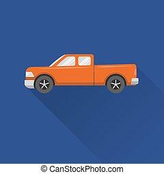 Flat style pickup truck icon