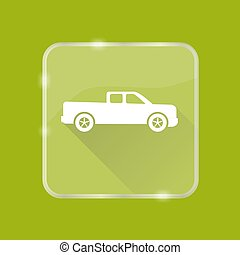 Flat style pickup truck silhouette icon