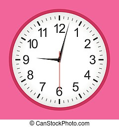 Flat style pink analogue clock