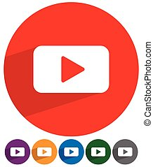 Flat style play button play icon in 6 color