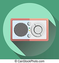 Vector colorful flat style radio reciever icon in pastel colors.