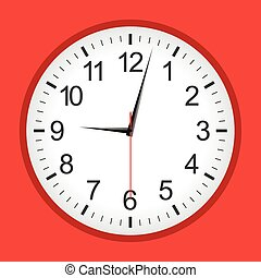 Flat style red analogue clock
