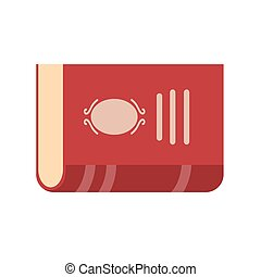Flat style red book icon on white, stock vector illustration