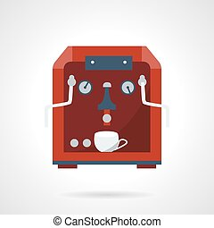 Flat style red coffee machine vector icon