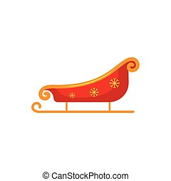 Flat style red, gold Santa sleigh, Christmas icon