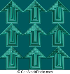 Flat Style Seamless Arrow Vector Background Pattern. Green and Blue Pointer Business.