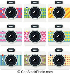 Flat style set of cameras