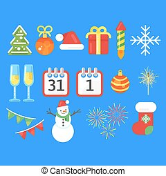 Flat style set of Christmas or New Year icons.