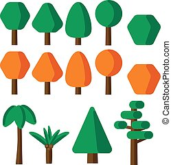 Flat style simple tree icons set