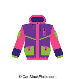 Flat style skiing, hiking, winter sport jacket