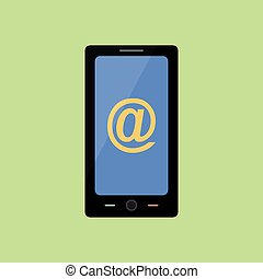Flat style smart phone with mail sign