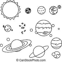 Flat style solar system planets set